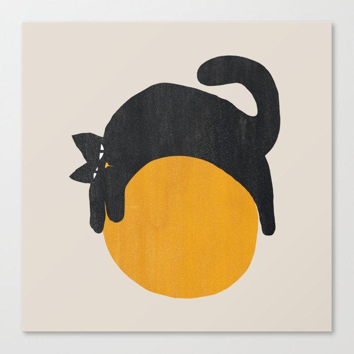 Cat with ball Leinwanddruck
