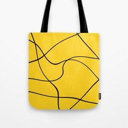 """""""Abstract lines"""" - Black on yellow Tote Bag"""
