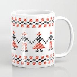 Traditional Hora people cross-stitch row white Coffee Mug
