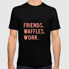 PARKS AND REC FRIENDS WAFFLES WORK Mens Fitted Tee Black 2X-LARGE