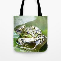 frog Tote Bags featuring frog by Karl-Heinz Lüpke