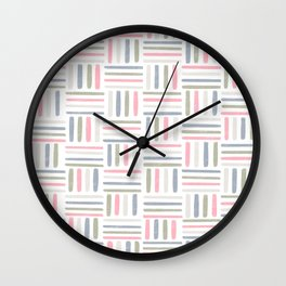 Linear Weave // Basket Weave Design in pastel colours, pink, white, grey, olive  Wall Clock