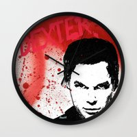 dexter Wall Clocks featuring Dexter by Carolyn Campbell