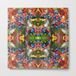 Abstract Fall Berries Mandala 1521 Metal Print