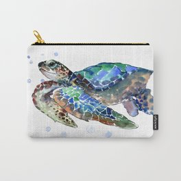 Sea Turtle, Green Blue, sea turtle under water, sky blue Carry-All Pouch