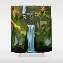Geometric Multnomah Falls  Shower Curtain