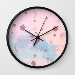 Pastel Starry Sky Moon Dream #2 #decor #art #society6 Wall Clock