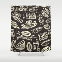 rugby Shower Curtains featuring Sport rugby emblems pattern by Fedor Novykh
