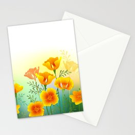 Background with California Poppy Stationery Cards