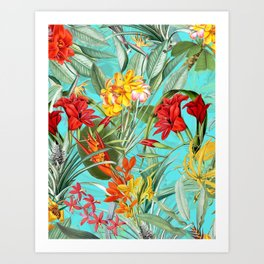 Vintage & Shabby Chic - Colorful Tropical Blue Garden Art Print