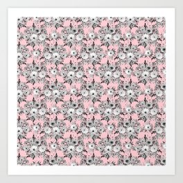 Cute Pink Gray White Floral Watercolor Paint Art Print