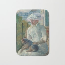 Young Girl at a Window Oil Painting by Mary Stevenson Cassatt Bath Mat