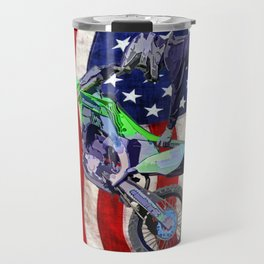 High Flying Freestyle Motocross Rider & US Flag Travel Mug