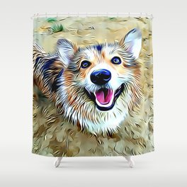 Wet Pembroke Welsh Corgi Shower Curtain