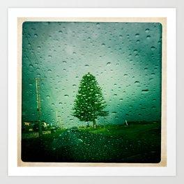 tree in rain Art Print