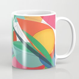 Abstract multicolored tropical flower, bird of paradise, superimposed shapes and transparencies Coffee Mug