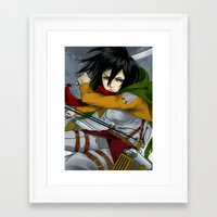 mikasa Framed Art Prints featuring Mikasa Ackerman by goldhedgehog