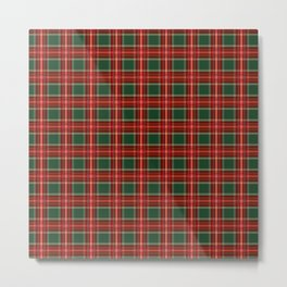 Christmas Plaid Pattern in Red and Green Metal Print