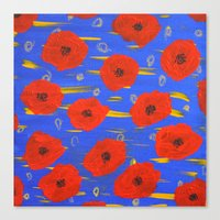 poppies Canvas Prints featuring POPPIES by Teresa Chipperfield Studios