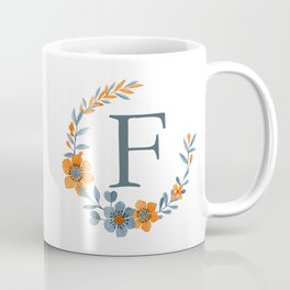 Monogram F Orange Autumn Floral Wreath Coffee Mug