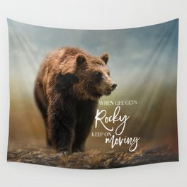 Grizzly On The Rocks Wall Tapestry