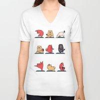 yoga V-neck T-shirts featuring Cat Yoga by Huebucket