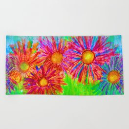 Bright Sketch Flowers Beach Towel