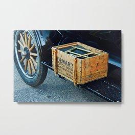 Whiskey box on a vintage car side board Metal Print
