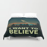 i want to believe Duvet Covers featuring I want to believe by mangulica illustrations