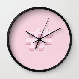 Pink Hashtag Wall Clock