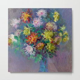 "Claude Monet ""Vase with chrysanthemes"" Metal Print"