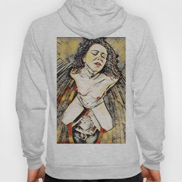 6151s-KD Red Lips in Mirror Erotic Art in the style of Wassily Kandinsky Hoody