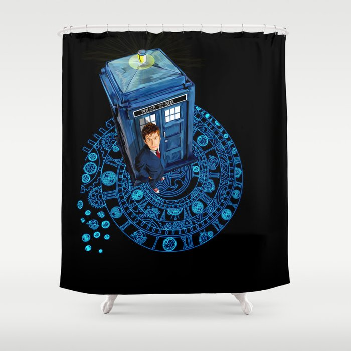 10th Doctor at arch of time zone T-Shirt Shower Curtain