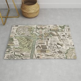 Vintage Military Defense Fortifications Diagram (1716) Rug