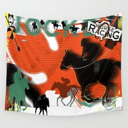 Horse Racing Wall Tapestry