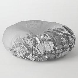 Black and White Philadelphia Skyline Floor Pillow