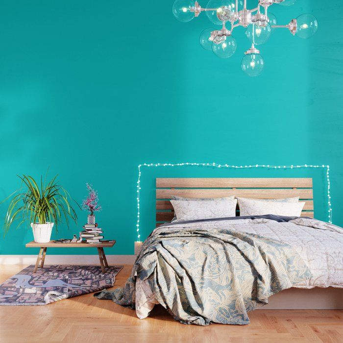 Dark Turquoise - solid color Wallpaper by makeitcolorful
