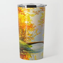 Bridge in the autumn forest Travel Mug