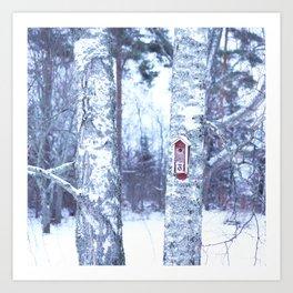 Red Bird House in Winter White Scene #decor #society6 #buyart Art Print