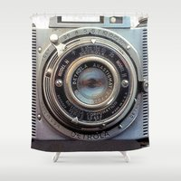 aperture Shower Curtains featuring Detrola (Vintage Camera) by RichCaspian
