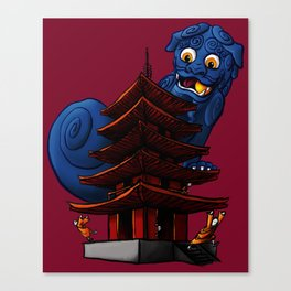 a Dog a Panic in a Pagoda Canvas Print