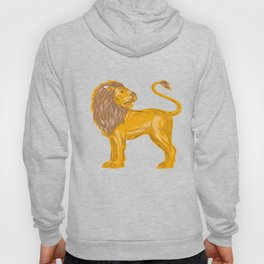 Angry Lion Big Cat Roaring Drawing Hoody
