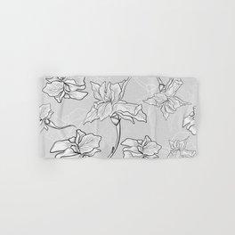 Botanical Iris Pattern - Gray, White, Black Hand & Bath Towel