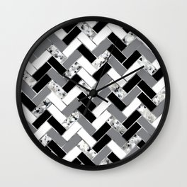 Shuffled Marble Herringbone - Black/White/Gray/Silver Wall Clock