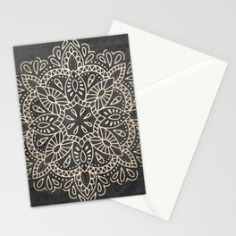 Mandala White Gold on Dark Gray Stationery Cards
