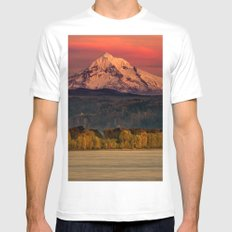 Adventure Mountain Mount Hood Oregon at Sunset Pink Sky Travel Nature Water Photograph Wall MEDIUM White Mens Fitted Tee