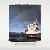 homer Shower Curtains featuring Homer, Alaska by Chris Rod