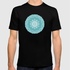 Frosty Snowflakes Coordinate MEDIUM Black Mens Fitted Tee