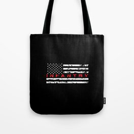 Infantry: Distressed American Flag Tote Bag