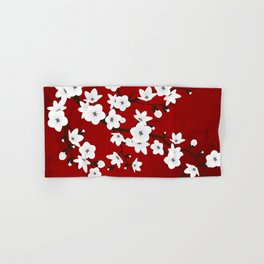 Red Black And White Cherry Blossoms Hand & Bath Towel